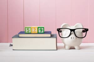 529 college savings plan - piggy bank with glasses