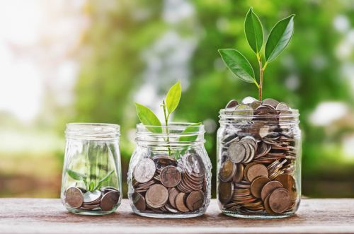 Plant growing from Coins in Jars - Symbol Growing Health Savings Account