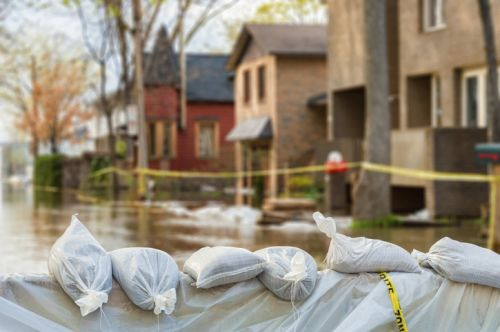 Disaster Preparedness: Flood Protection Sandbags with homes in the background