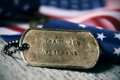 Thank You Veterans printed on dog tag