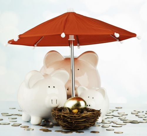 Three piggy banks surround a nest egg to protect and watch it grow
