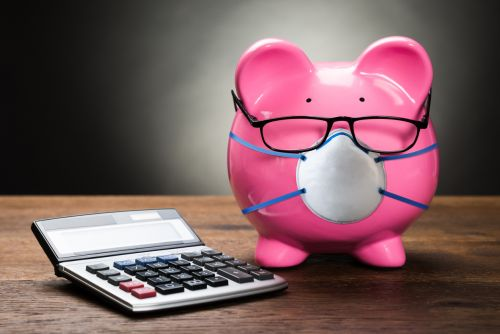 Piggybank With Calculator and Medical Mask