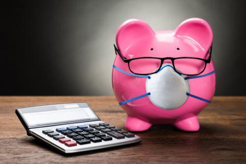 Piggybank With Calculator and Medical Mask