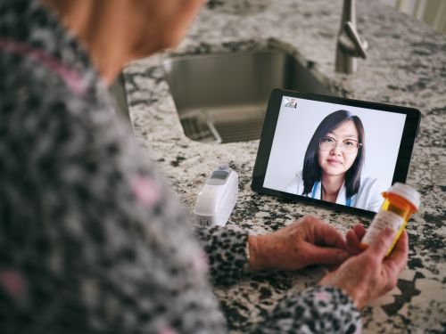 Senior Woman on a Virtual Doctor Visit Call