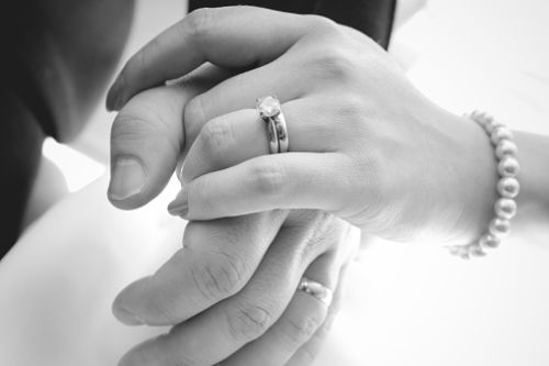Hands with wedding rings - signifying predatory marriage phenomenon