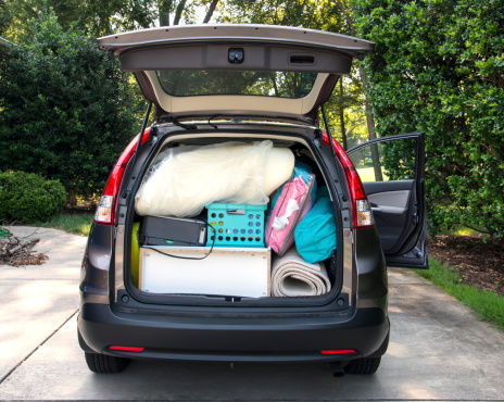 Car packed for college
